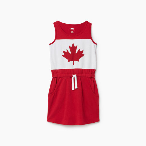 Roots-Kids Girls-Girls Blazon Dress-Sage Red-A