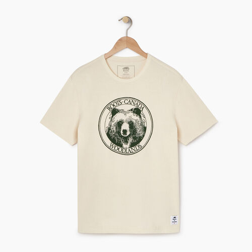 Roots-New For April Heather Cooper Collection-Mens Cooper Bear T-shirt-Natural-A
