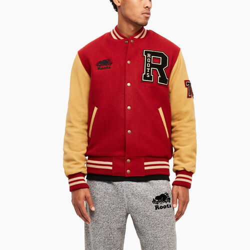 Roots-Leather Categories-Roots Script Award Jacket-Red-A