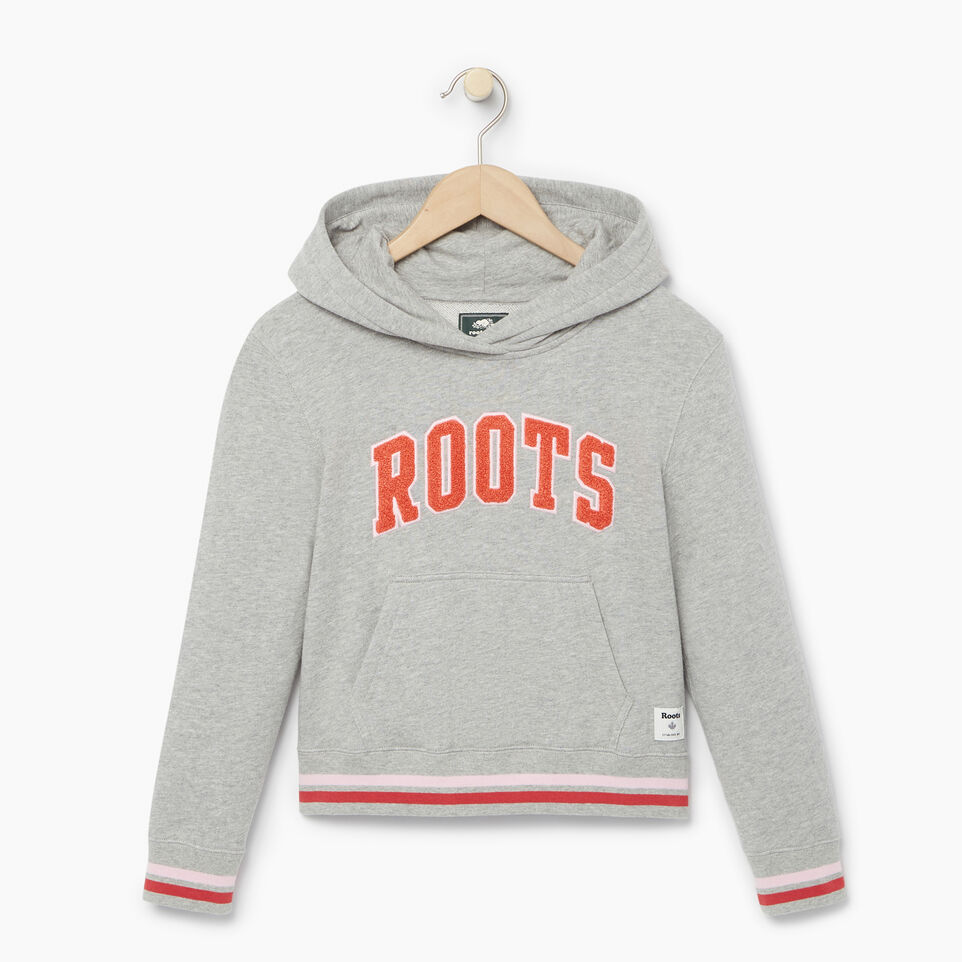 Roots-Kids Categories-Girls Roots Varsity Kanga Hoody-Grey Mix-A