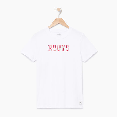 Roots-Women Tops-Womens Maple Roots T-shirt-Crisp White-A