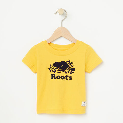 Roots-Kids Baby Boy-Baby Cooper Short Sleeve T-shirt-Sunset Yellow-A