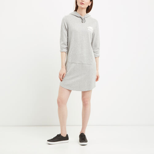 Roots-Women Sweats-Hooded French Terry Dress-Grey Mix-A