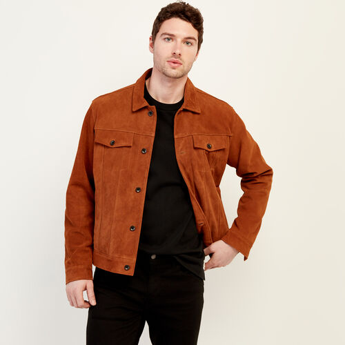 Roots-Men Leather Jackets-Mens Trucker Jacket Suede-Tan-A