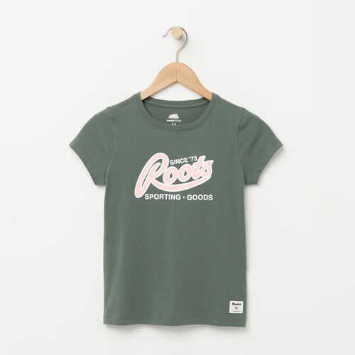 Roots-Kids Graphic T-shirts-Girls Roots Sporting Goods T-shirt-Duck Green-A
