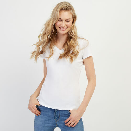 Roots-Women Tops-Essential Slim  V-neck T-shirt-White-A