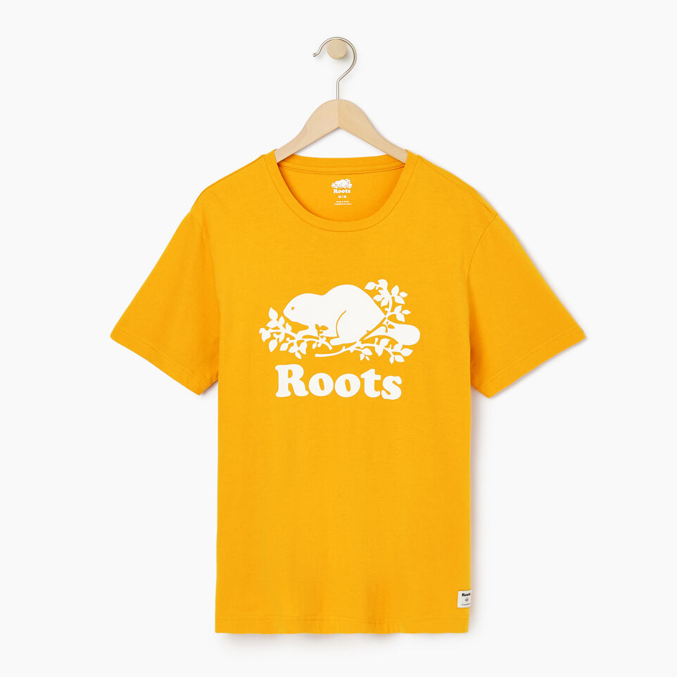 Roots-New For July Men-Mens Cooper Beaver T-shirt-Squash Yellow-A