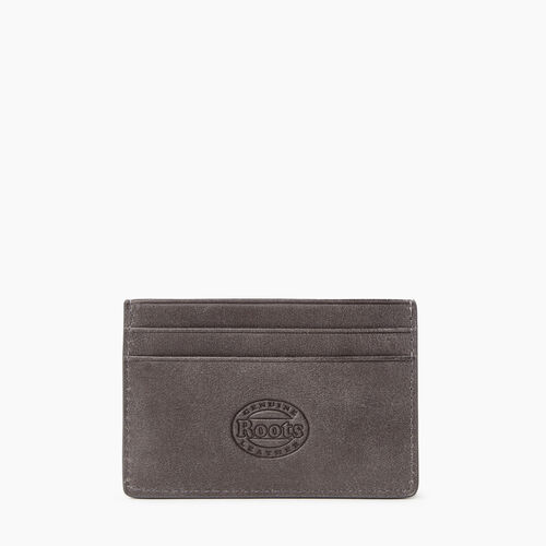 Roots-Leather Leather Accessories-Card Holder Tribe-Charcoal-A