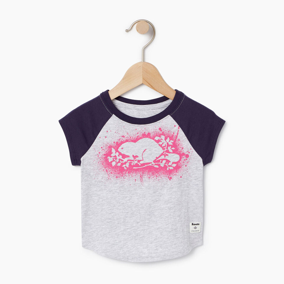 Roots-Kids Our Favourite New Arrivals-Baby Splatter Raglan T-shirt-Snowy Ice Mix-A