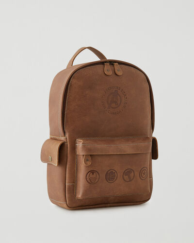Roots-Leather Backpacks-Avengers Central Pack-Natural-A