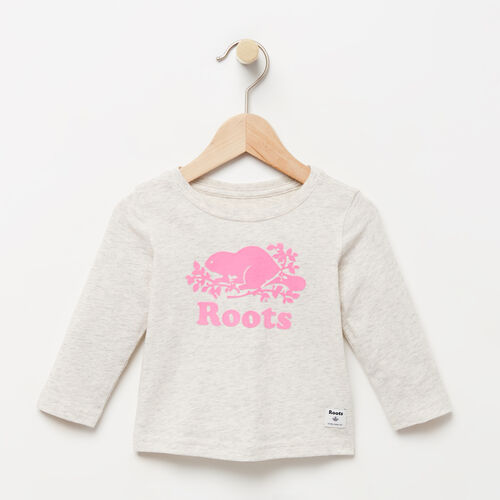 Roots-Winter Sale Baby-Baby Original Cooper Beaver T-shirt-White Grey Mix-A