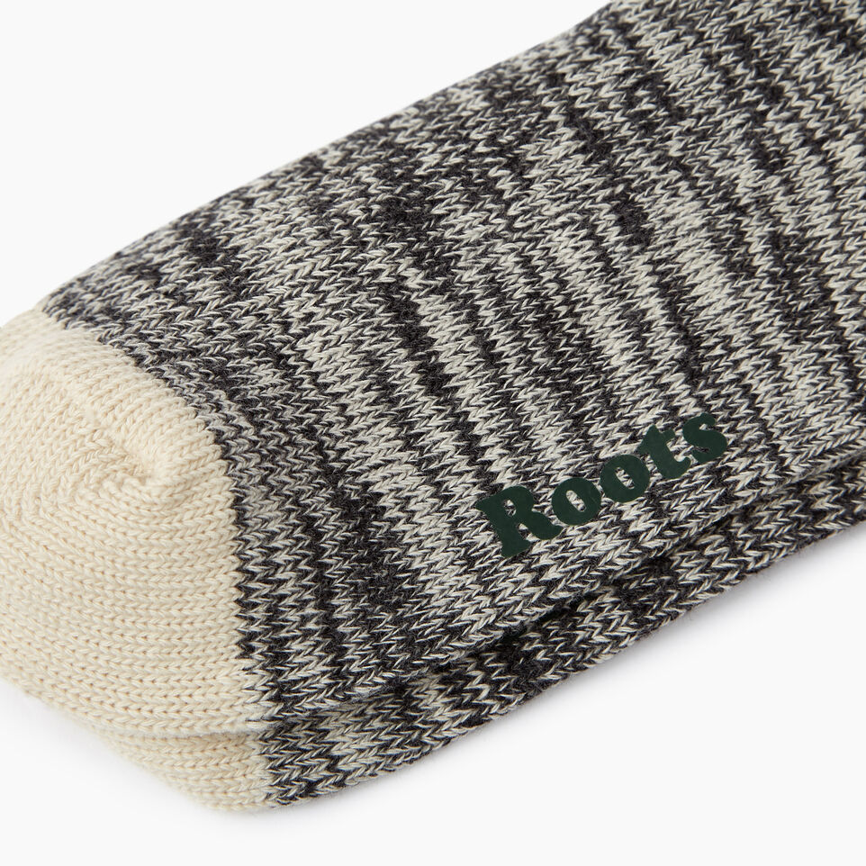 Roots-Women Socks-Womens Cotton Cabin Sock 2 pack-Salt & Pepper-C
