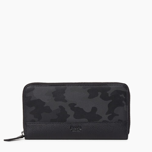 Roots-Leather New Arrivals-Zip Around Clutch Camo-Black Camo-A