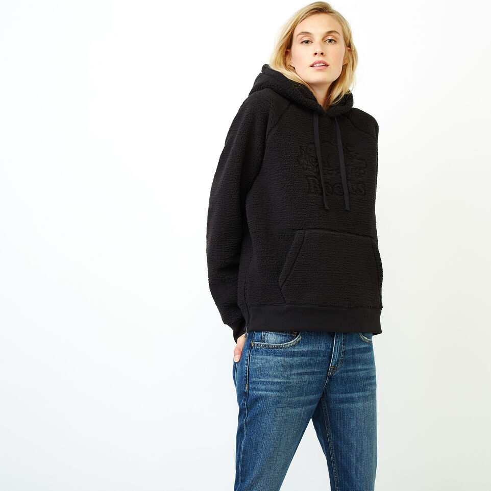 Roots-Women Clothing-Sherpa Hoody-Black-A