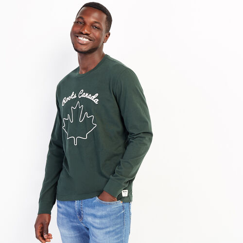 Roots-Men Graphic T-shirts-Mens Cooper Leaf Long Sleeve T-shirt-Park Green-A