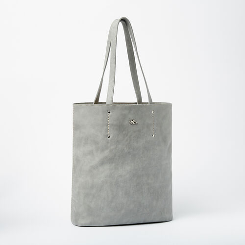 Roots-Leather Totes-Large Downtown Tote Tribe-Quartz-A