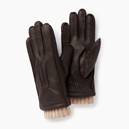 Roots-Women Categories-Womens Cuff Deerskin Glove-Dk Brown-A