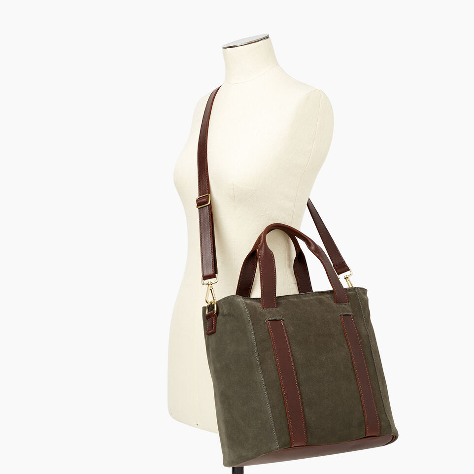 Roots-Women Clothing-Victoria Tote Suede-Fatigue-B