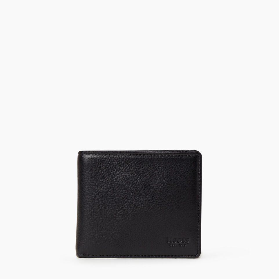 Roots-Leather Wallets-Mens Slimfold With Coin-Black-A