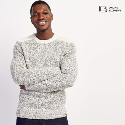 Roots-Men Sweaters & Cardigans-Snowy Fox Colour Blocked Crew Sweater-Snowy Fox-A