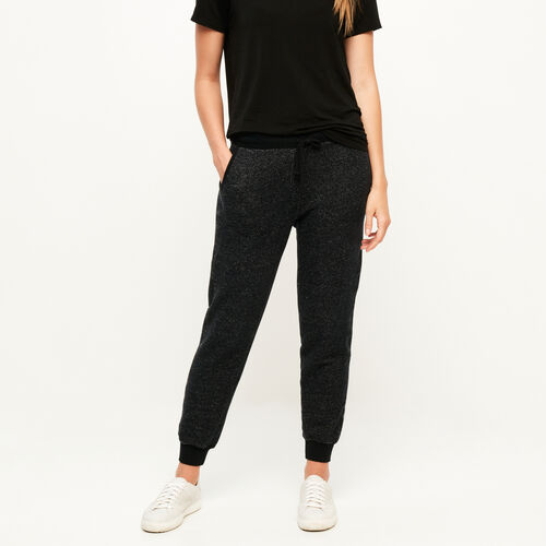 Roots-Women Bottoms-Cozy Fleece Slim Sweatpant-Black Pepper-A