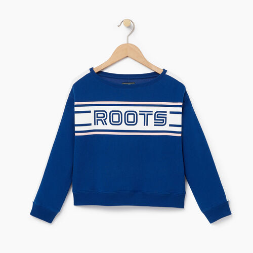 Roots-Clearance Kids-Girls Sportsmas Crew Sweatshirt-Active Blue-A