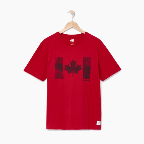 Roots-Men Categories-Mens Watercolour Flag T-shirt-Sage Red-A