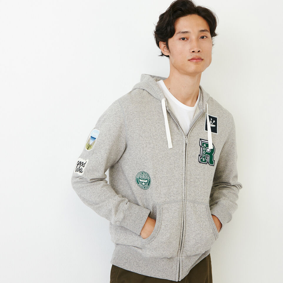 Roots-Men Our Favourite New Arrivals-Badges Full Zip Hoody-Grey Mix Pepper-A