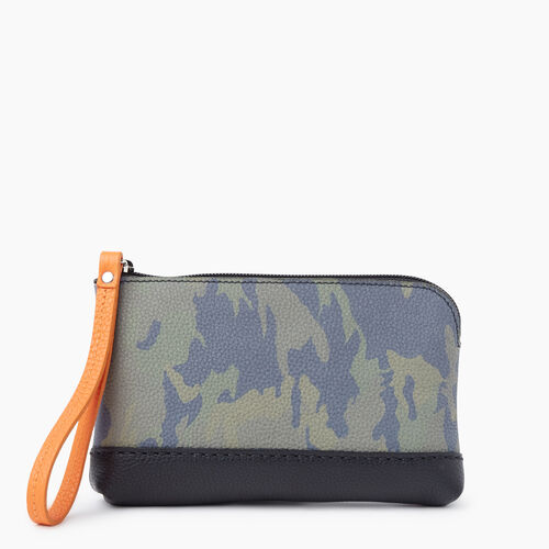 Roots-Women Leather-Funky Zip Pouch Camo-Green Camo-A