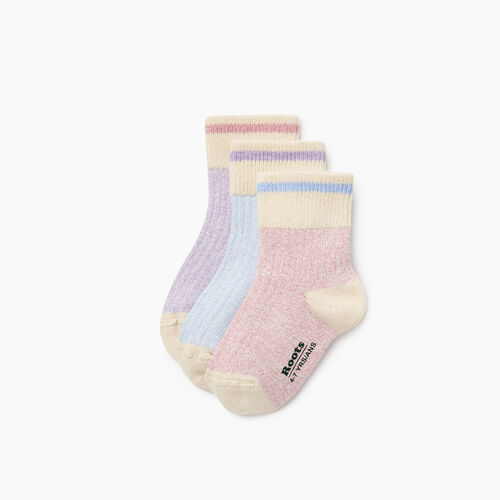 Roots-Kids Our Favourite New Arrivals-Kids Cotton Cabin Ankle Sock 3 Pack-Pink-A