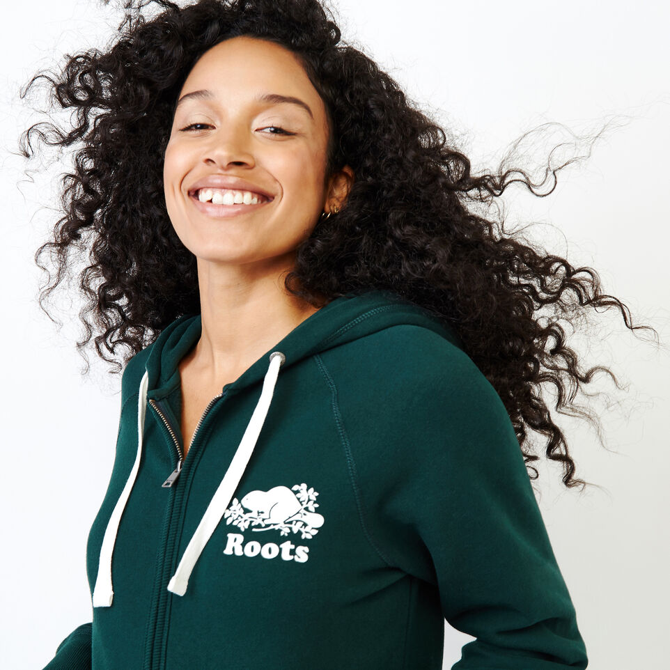 Roots-Women Clothing-Original Full Zip Hoody-Varsity Green-E