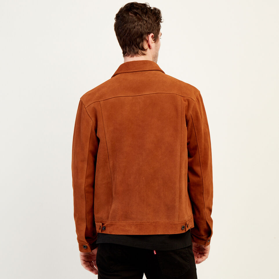 Roots-Leather Leather Jackets-Mens Trucker Jacket Suede-Tan-D