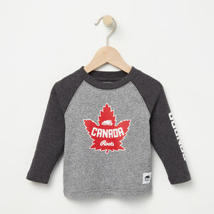 Roots-Kids Canada Collection-Baby Heritage Canada Long Sleeve T-shirt-Salt & Pepper-A