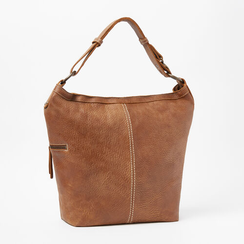 Roots-Leather Shoulder Bags-Large Hobo Tribe-Natural-A