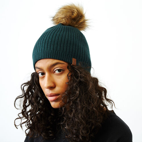 Roots-Women Categories-Robson Faux Fur Pom Pom Toque-Sea Moss-A