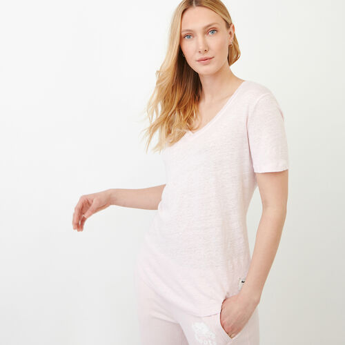 Roots-Women Categories-Linen V Neck Top-Cradle Pink-A