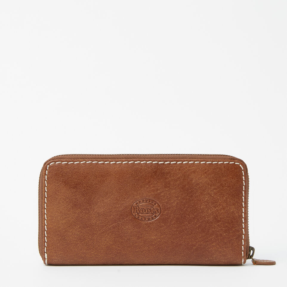 Roots-Leather Wallets-Zip Around Clutch Tribe-Natural-C