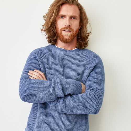 Roots-Men Sweaters & Cardigans-Baffin Fishermans Sweater-Celestial Blue Mix-A