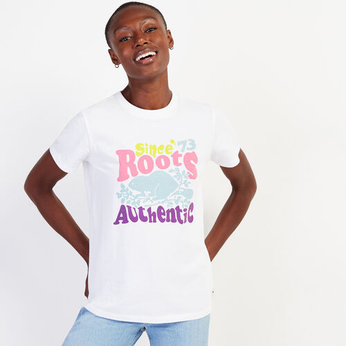 Roots-Women Graphic T-shirts-Womens Groovy Roots T-shirt-Crisp White-A