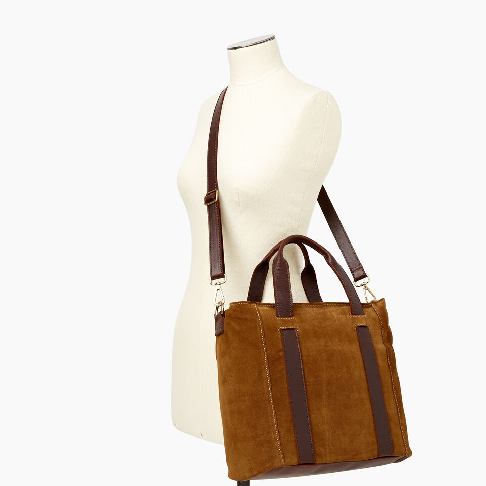 Roots-Leather Handbags-Victoria Tote Suede-Tan-B