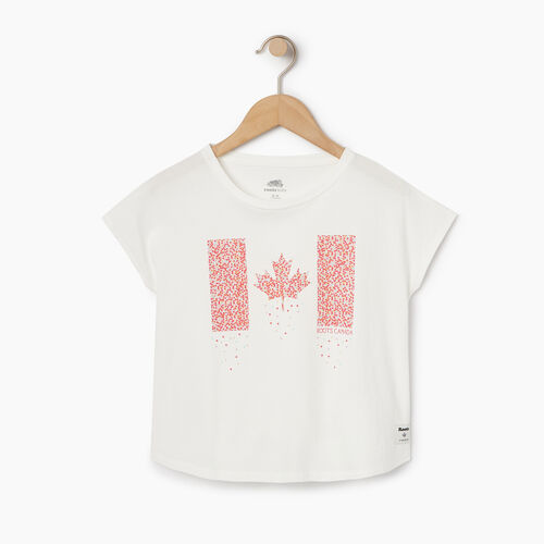 Roots-Kids Tops-Girls Confetti Canada T-shirt-Ivory-A
