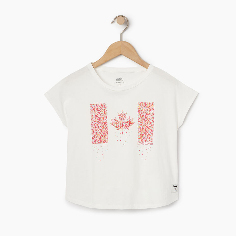Roots-New For May Kids-Girls Confetti Canada T-shirt-Ivory-A