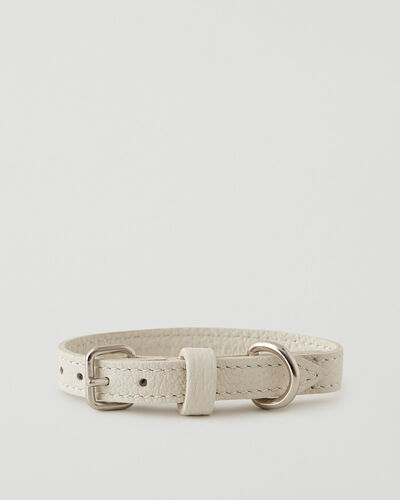 Roots-Leather Dog Accessories-Extra Small Leather Dog Collar Parisian-Ivoire-A