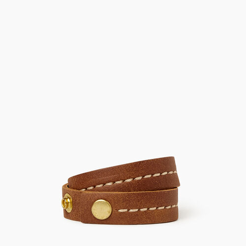 Roots-Leather Collections-Double Leather Bracelet-Natural-A