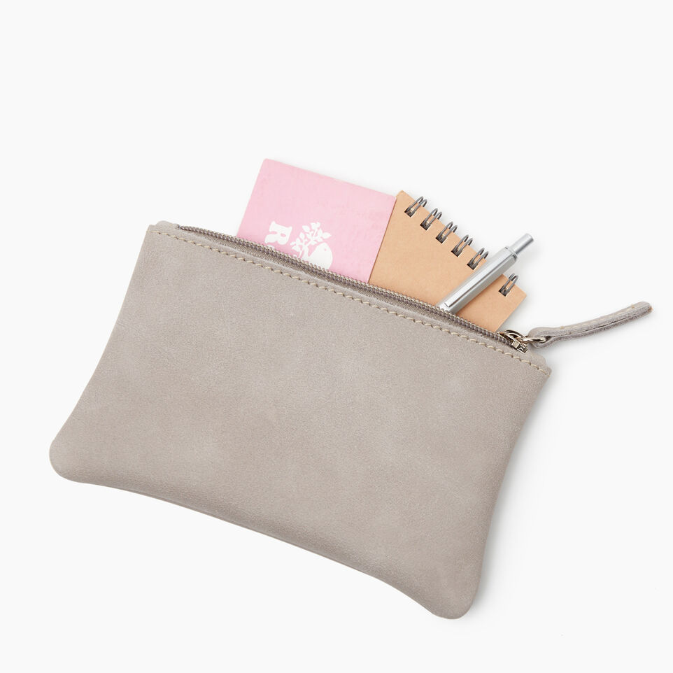 Roots-Leather Leather Accessories-Medium Zip Pouch-Sterling Grey-D