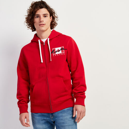 Roots-Sale Sweats-Script Canada Full Zip Hoody-Sage Red-A