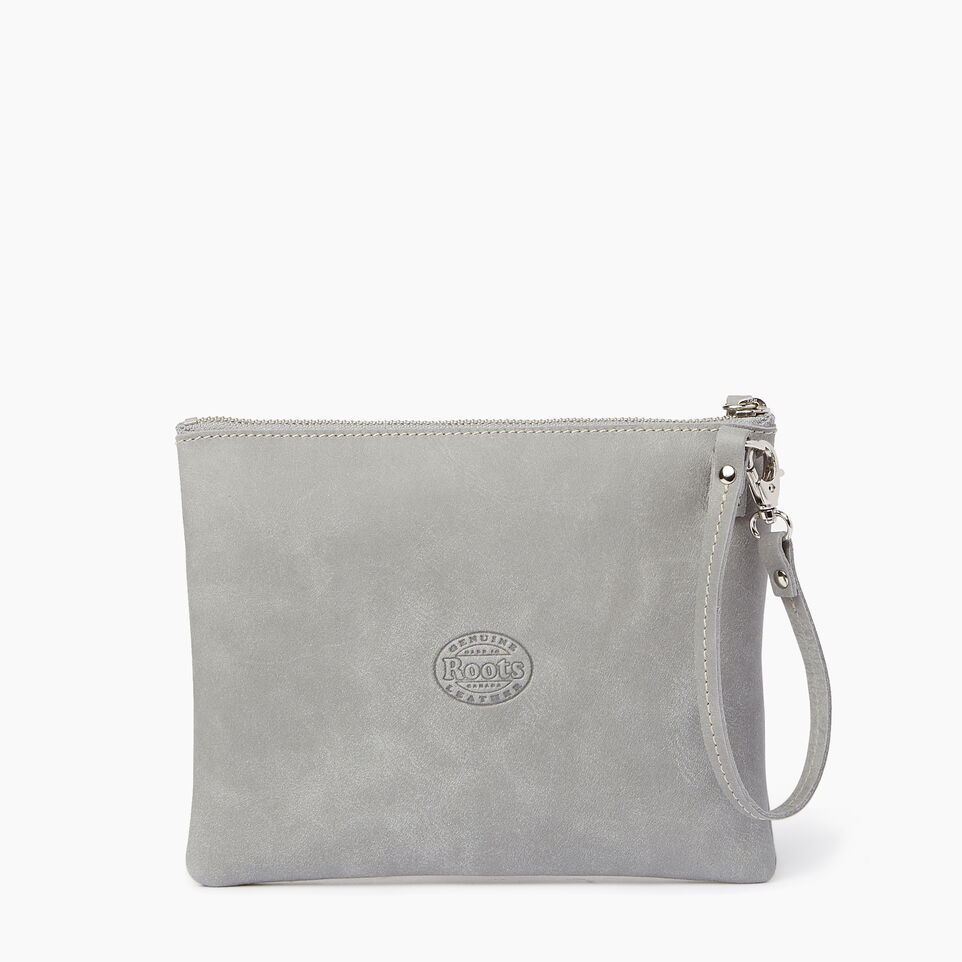 Roots-Leather  Handcrafted By Us Our Favourite New Arrivals-Double Zip Wristlet-Quartz-C