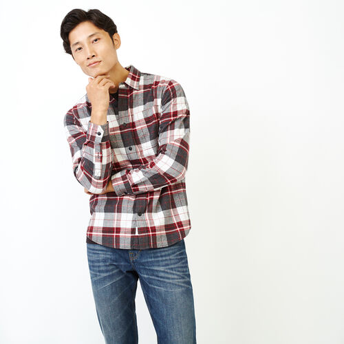 Roots-Men Shirts & Polos-Rivers Flannel Shirt-Charcoal Mix-A