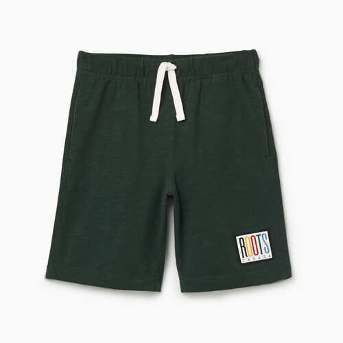 Roots-Kids Bottoms-Boys Camp Patch Short-Park Green-A
