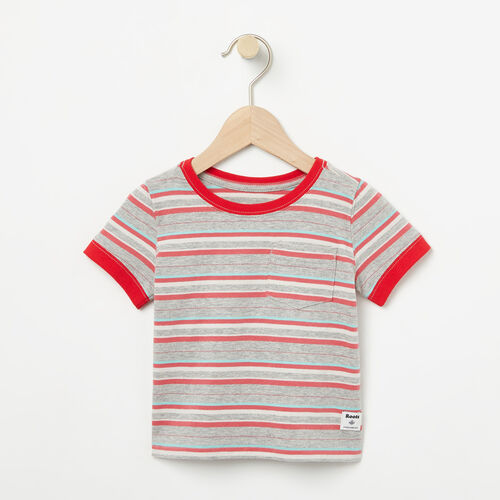 Roots-New For April Kids-Baby Striped Ringer Top-Washed Indigo-A